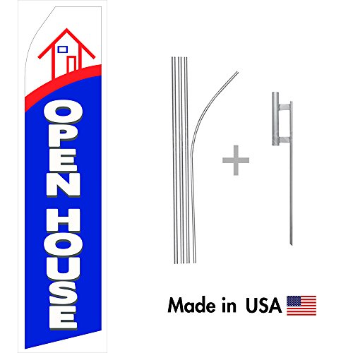 Wall26 Open House Econo Flag | 16ft Aluminum Advertising Swooper Flag Kit with Hardware