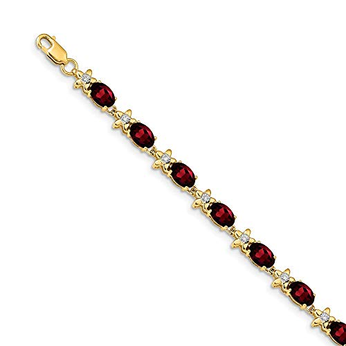 (FB Jewels 14k Yellow Gold Floral Diamond Garnet Bracelet)