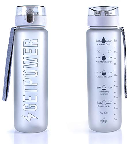 Water Bottle by Get Power - 32Oz to 1L Motivational Sports Bottle - Fancy Travel Bottle - BPA-Free Heavy Duty Tritan - Triple Click Leak-Proof Protection - Drinking Timemaker & Refill Reminder