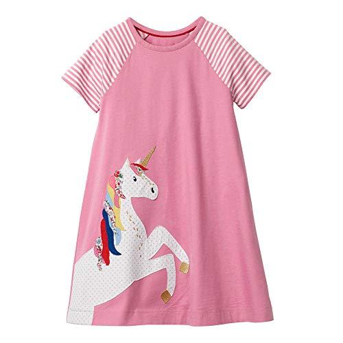 Girls Pink Jersey Dress - Little Toddler Girls Summer Dresses Short Sleeve Pink Unicorn Cotton Casual Basic Shirt Dress
