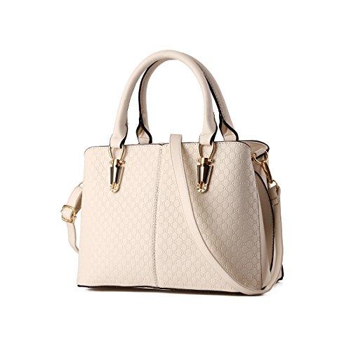 Tisdaini Mujer Bolso Billetero PU Calidad en relieve bolsos de cuero Bolso de mujer Bolso de mensajero en un solo hombro Blancuzco