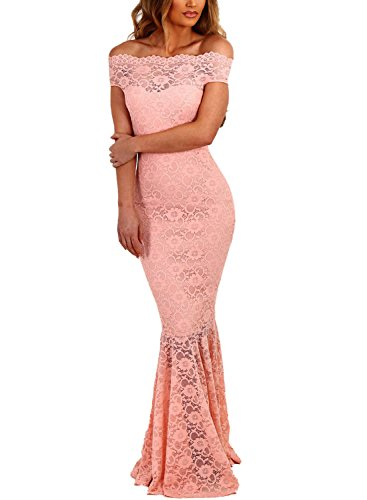 ZKESS Women 1920s Prom Gown Long Cocktail Formal Evening Dress Off Shoulder Fishtail Dresses Pink Large Size -