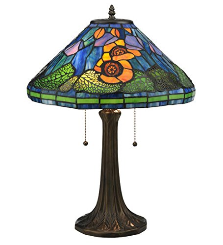 Tiffany Style Stained Glass Light Poppy Cone Table Lamp