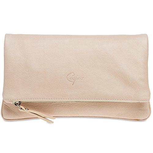 CASPAR TL763 Damen Leder Clutch Tasche Abendtasche aus feinem Nappaleder Rosa Ecuj3g6o