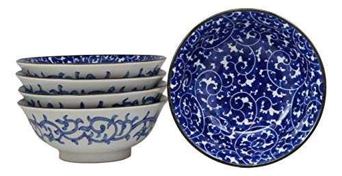 Ebros Gift Blue And White Ming Dynasty Style Floral Vines Ceramic Bowls Pack Of 5 Made In Japan Ramen Pho Soup Bowl Set 32oz 8