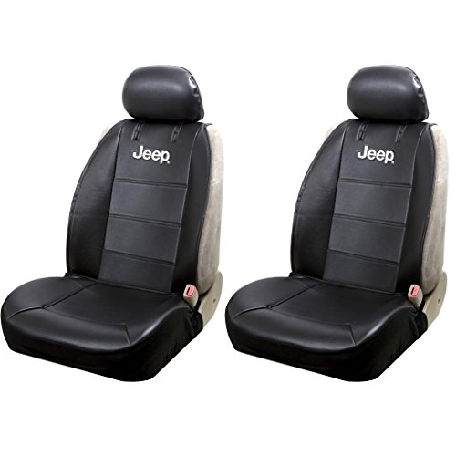Jeep Logo Sideless Black Synthetic Leather Seat Covers Set Airbag Compatible Universal Fit