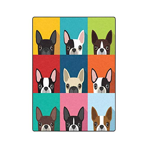INTERESTPRINT Boston Terrier Fleece Blanket Lightweight Cozy Plush Blanket 58