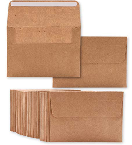 "50 Pack Brown Kraft A7 Invitation Envelopes for 5 x 7"" Wedding Cards, Photos, Baby Shower Invites - Square Peel & Stick Flap, 5.25 x 7.25 Inches"