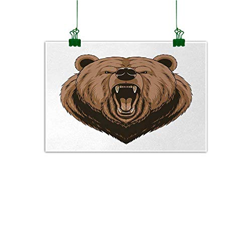 Unpremoon Bear Painting Angry Scary Face Powerful Vicious Beast Mascot Cartoon Character with Fangs Kitchen Home Decorations Caramel Dark Brown W 47