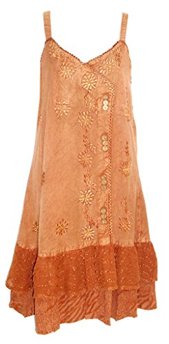 Raya Sun Dress With Animal Print Ruffle - Rust (Animal Print Ruffle Dress)