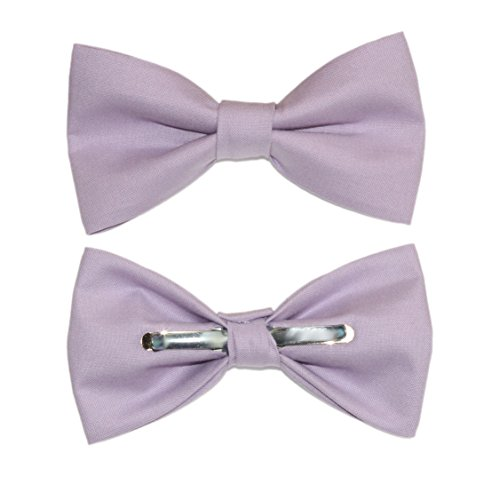 amy2004marie Men's Lilac Purple/Light Purple Clip On Cotton Bow Tie by amy2004marie