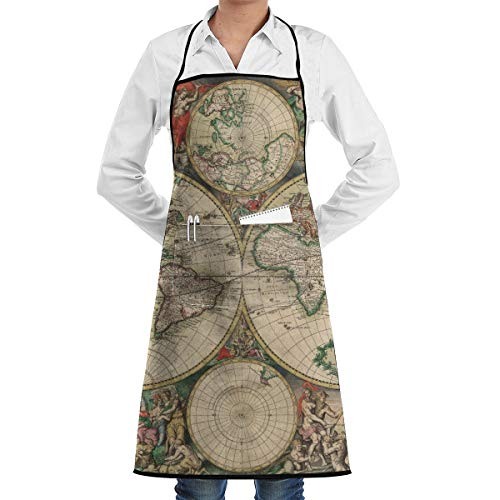 Vicrunning Old World Map Aprons Bib for Mens Womens Halloween Lace Adjustable Adult Kitchen Waiter Aprons with Pockets ()