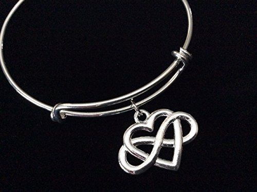 Infinity Forever Heart Silver Expandable Charm Bracelet Adjustable Bangle Simple Celtic Style ()