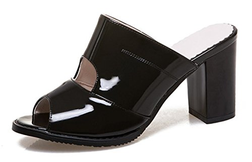 SHOWHOW Women's Fashion Slip On Peep Toe Block Heels Mule Sandals Black