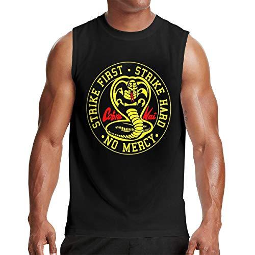 Mans Cobra Kai Muscle Tank Vest Outdoor Sleeveless T Shirt L Gift Black (Cobra Sleeveless T-shirt)