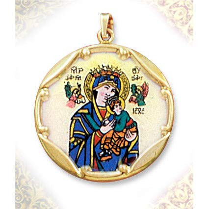 (World Faith Mary and Baby Jesus 10K 1 Inch Gold Framed Hand Painted Porcelain and Enamel Medal Pendant with Bale)