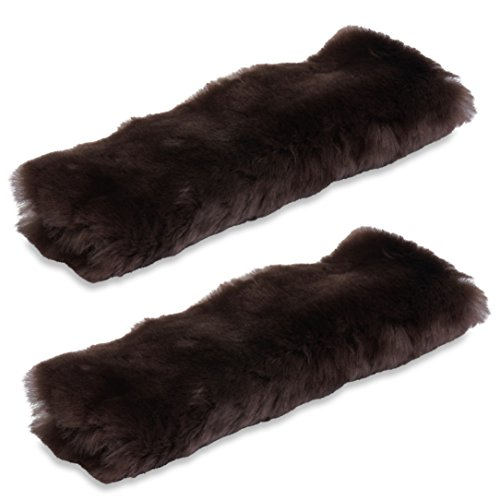 Andalus Authentic Sheepskin SeatBelt Cover, 2 Pack, Seat Belt Covers for Adults, Comfortable Driving, Genuine Natural Merino Wool (Brown)