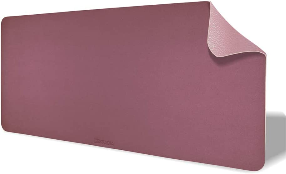 Deskadia Waterproof Dual Sided Two Duo Tone PU Vegan Leather Desk Mat, Large Desktop Setup Writing Mouse Pad for Home Office Kids Study Gaming Decor Protector (Mauve/Pink, 36 x 17 x 0.8)