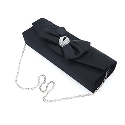 Bow Satin Crystals - Elegant Satin Flap Bow Crystal Clutch Evening Bag, Black