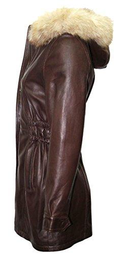 Longitud Capa Diseñador De Piel Boots Señoras La Del Chaqueta Foso Cuero Marron And Leather Mediados Capucha Lld Con 8qSgFw