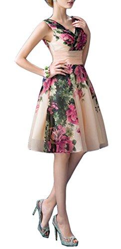 Brautjungfer Damen emmani Baumwolle Chiffon V Kleider Ausschnitt Print YA1wTq