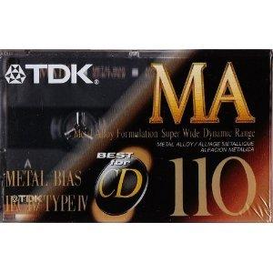 Alloy Cassette - TDK MA110 Metal Biased Metal Alloy 110 Minutes Cassette Tape