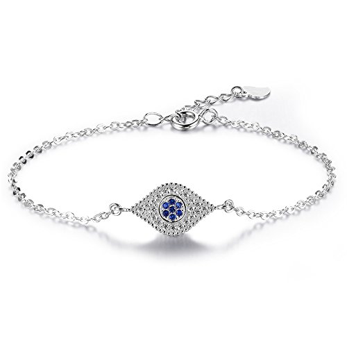 (Rhodium Plated Sterling Silver Evil Eye Bracelet 7'' Lobster Clasp)