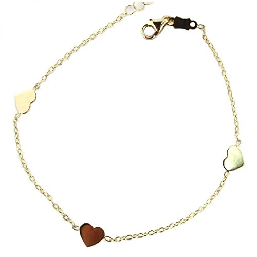 18KT Yellow Gold 3 Polished Hearts Bracelet 5.5 inches with extra rings from 4.5 inches by Amalia