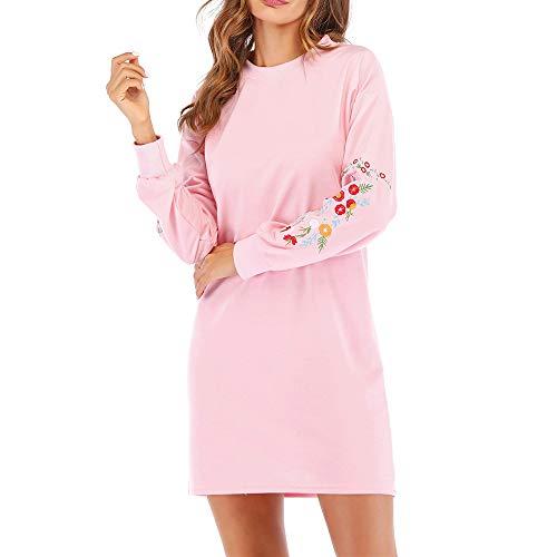 - Chaofanjiancai Womens Dresses Casual Long Sleeve Floral Embroidery Crewneck Loose Sweatshirt Dress
