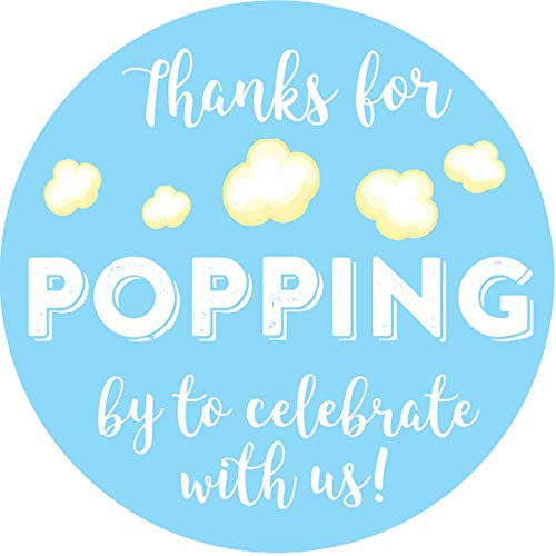 2 Inch Thanks for Popping by Wedding Stickers Set of 60 (Light Blue)