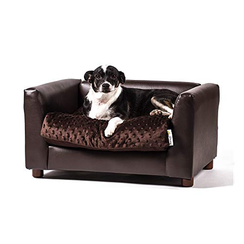Keet Fluffly Deluxe Pet Bed Sofa Chocolate Small ()