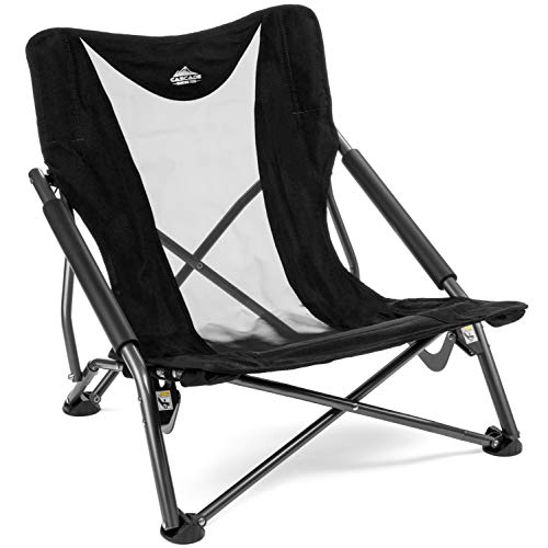 Cascade Mountain Tech Compact Low Profile Outdoor Folding Camp Chair with Carry Case - Black (Chairs Best Outdoor)