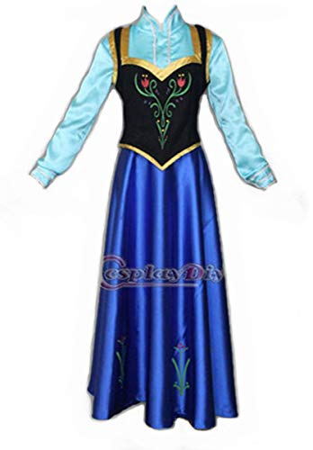 Red Dot Boutique 516 - Plus Size Snow Queen Princess Anna Woman Adult Cosplay Dress Cape Blue (7) 2X