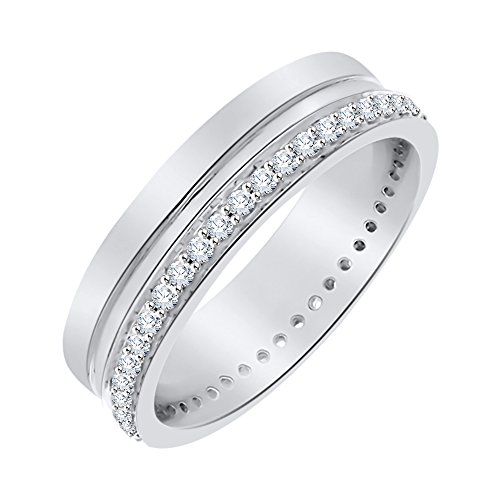 Diamond Eternity Band in Sterling Silver (1/2 cttw) (I-Color, SI3-I1 Clarity) (Size-7) by KATARINA