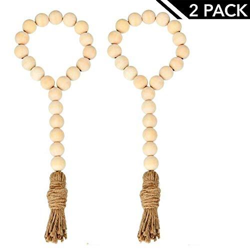 Pumpkino Natural Wood Bead Garland with Tassels Farmhouse Beads 2Pcs Rustic Country Decor Prayer Beads Wall Hanging Decor