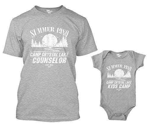 Camp Crystal Lake Counselor/Camp Crystal Lake Kids Camp Matching Bodysuit & Men's T-Shirt (Light Gray/Light Gray, X-Large/12 Months)