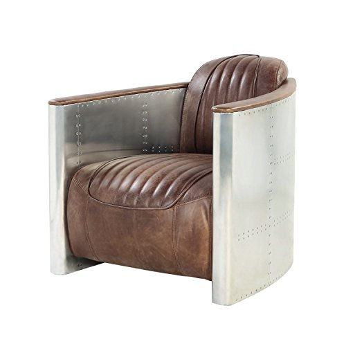 o Brown Top Grain Leather and Aluminum Accent Chair (Chair Top Grain)