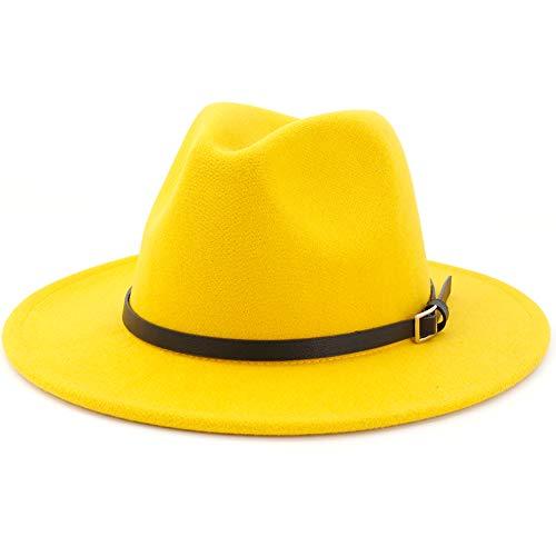 Lisianthus Women & Men Wide Brim Belt Buckle Fedora Hat Yellow 58-60cm -