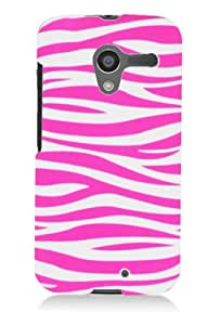 Graphic Rubberized Shield Hard Case for Motorola Moto X - Pink Zebra (Package include a HandHelditems Sketch Stylus Pen)