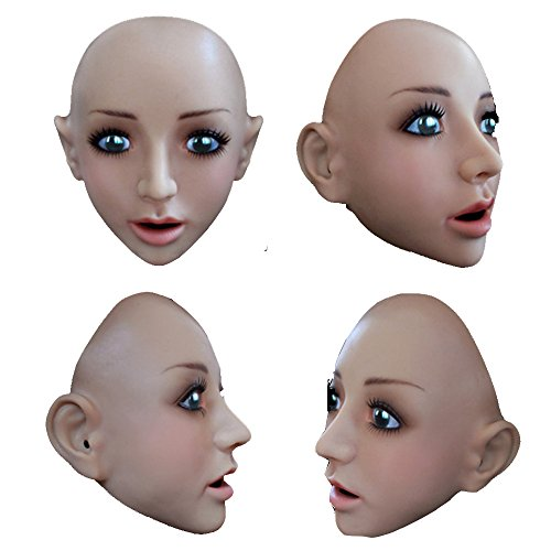 TS Realistic Soft Silicone Female Mask, Halloween Costume Disguising Party Mask SH14 - Costume Makeup Stubble