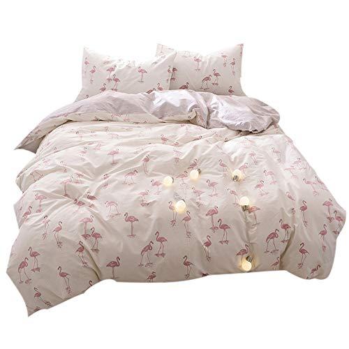 FenDie Reversible Lightweight Bedding Set Kids Girls Flamingo Printed Duvet Cover Set Cream White, 100% Cotton, Twin Size - Reversible Printed