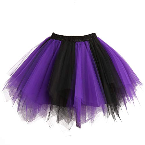 Musever 1950s Vintage Ballet Bubble Skirt Tulle Petticoat Puffy Tutu Black/Purple Small/Medium ()