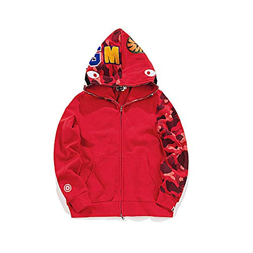 Unisex Men Shark Full Zip Sweatshirt Jacket Outdoor Hip-Hop Funny Tops(Red1, M)