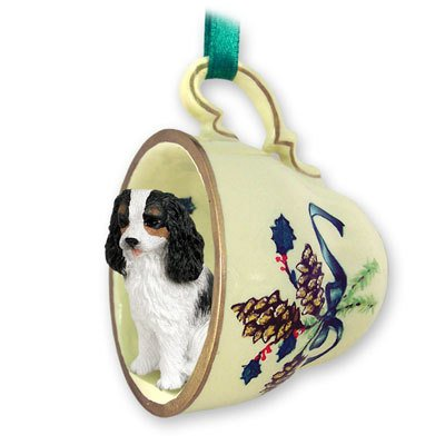 Cavalier King Charles Spaniel Black & White Tea Cup Green Holiday Ornament
