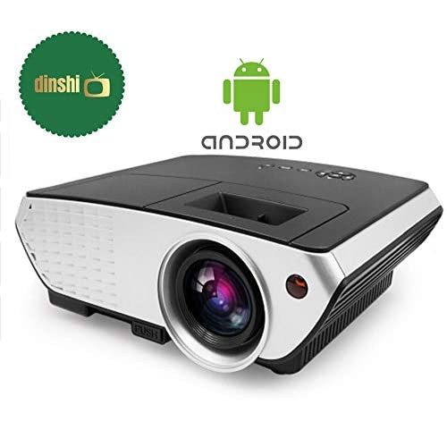LD Dinshi Pro Android WiFi Version 2200 Lumens Multimedia LED Projector with HDMI Video VGA Slot Black