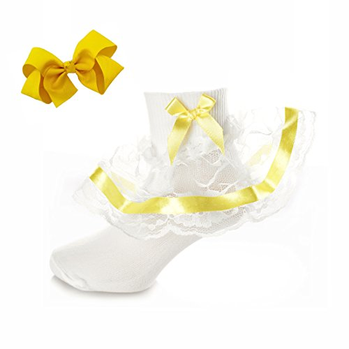 DressForLess Pretty Girls Socks with Lace and Ribbon, Yellow,