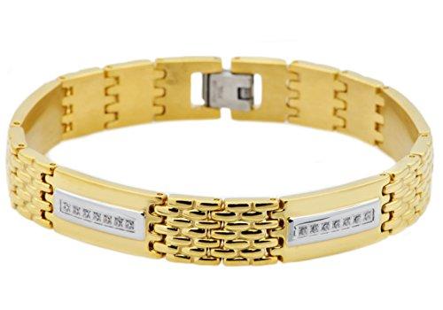 Blackjack Jewelry Mens 18k Gold Plated Stainless Steel CZ Stripe Link Bracelet (Gold) by Blackjack Jewelry