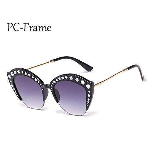 Medio Gafas G161 PC TL Marco señoras Frame ojo marco tonos PC de sexy de Sunglasses gato de C6 de gafas C1 Mujer Rhinestone sol 5wq8F