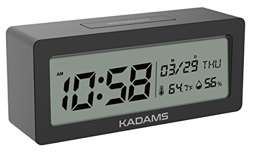 - KADAMS Battery Digital Alarm Clock with Snooze, Backlight, Calendar Month Date Day, Temperature and Humidity, Low Battery Indicator, Small Portable Travel Clock, for Shelf Desk Table - Black