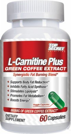Top Secret Nutrition L-Carnatine Plus Capsules, Green Coffee, 60 Count